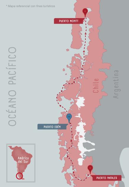 carte route des fjords Puerto Montt - Puerto Natales
