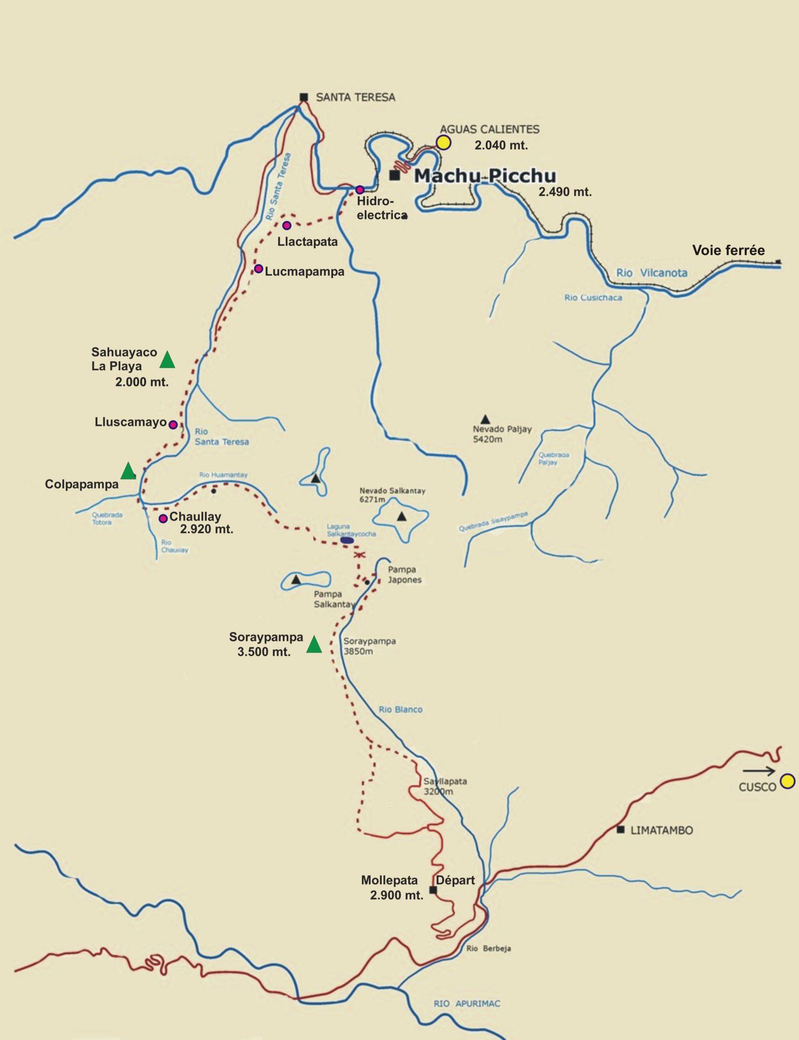 Schéma du trek autour du Salkantay, Pérou