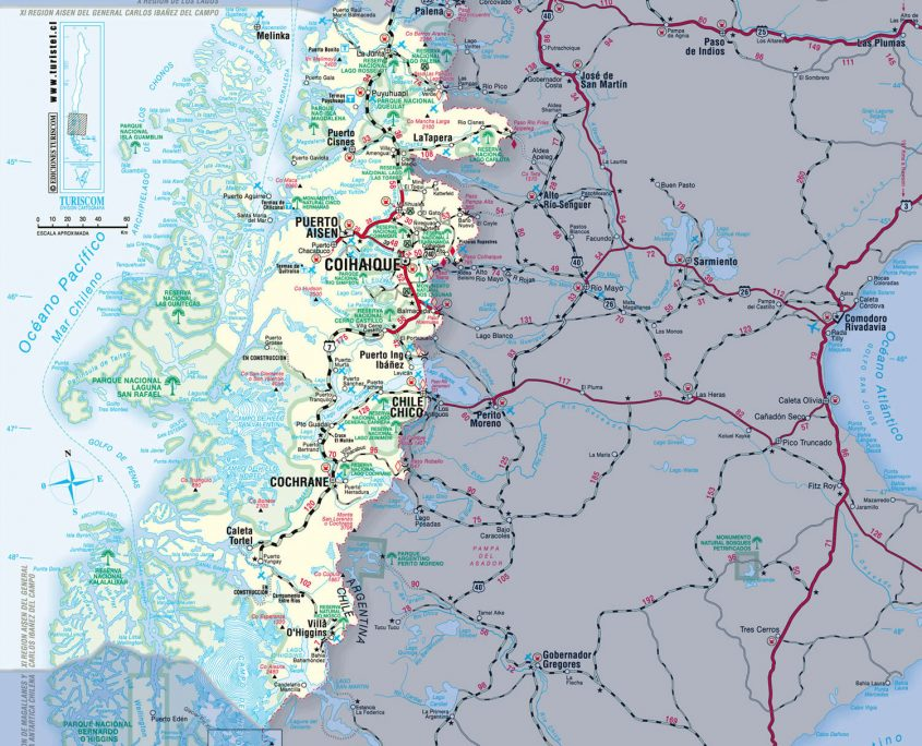 carte de la XI région, Aysen, Patagonie chilienne