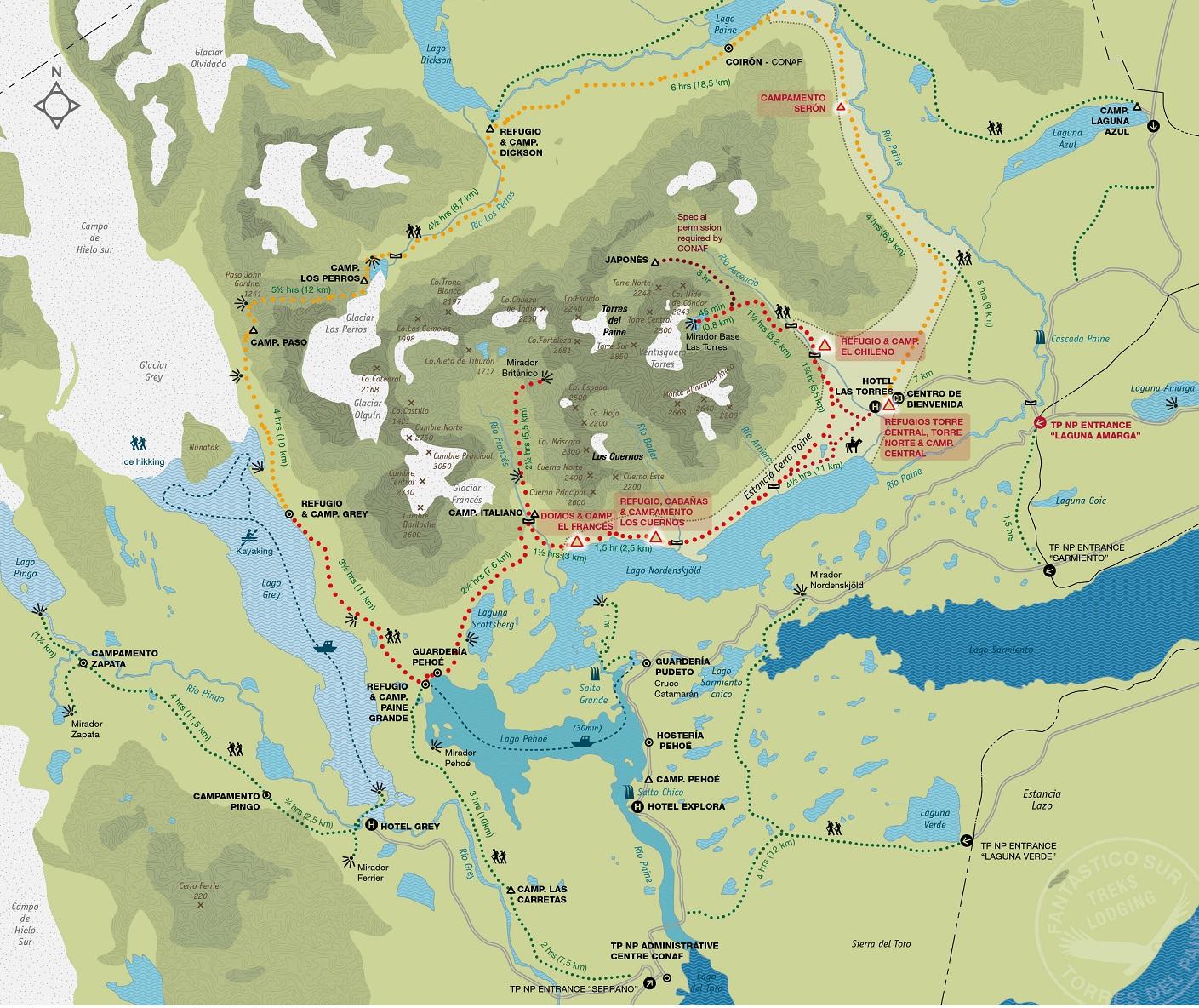 Carte parc nat. Torres del Paine