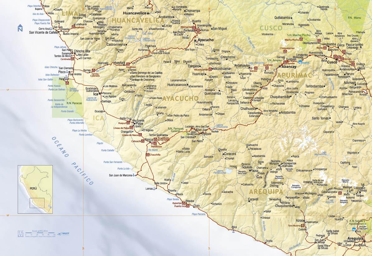 carte région Paracas-Nasca