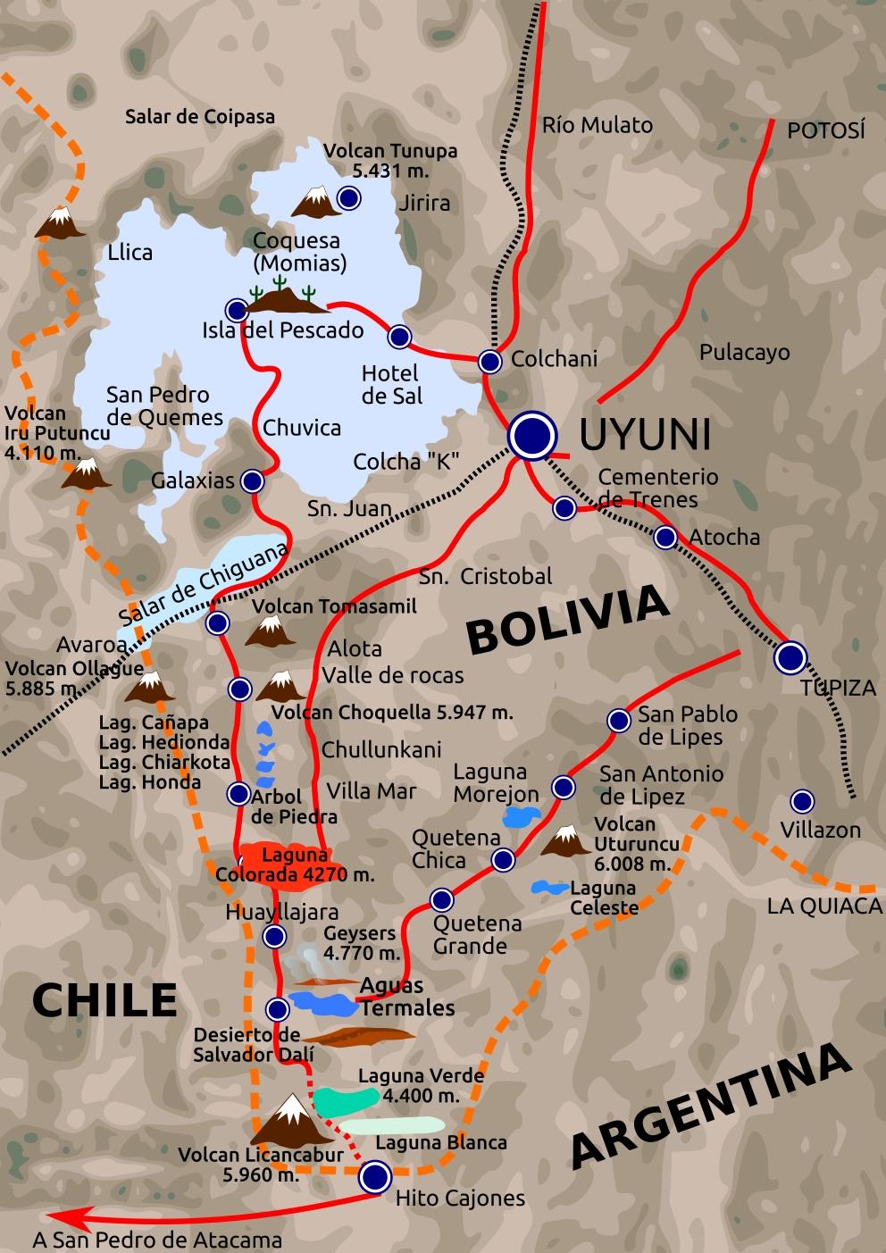 carte du Sud Lipez-Bolivie